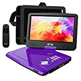 SUNPIN Portable DVD Player 12.5' with HD Swivel Screen, Long Lasting Battery, Support USB/SD Card/Sync TV and Multiple Disc Formats, with Car Charger &Power Adaptor & Car Headrest Mount Case, Purple