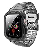 JXVM Band Designed for Apple Watch 44mm 42mm, Crystal Clear Men Women Sporty Protective Bumper Case with Premium Soft TPU Adjustable Strap Bands for Apple Watch Series 6/5/4/3/2(Black)