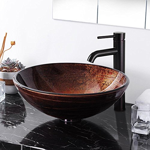 Aquaterior Tempered Glass Vessel Sink Bathroom Lavatory Round Bowl Pattern Basin