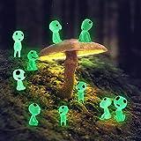 10 piezas enano de jardín Princesa Mononoke árbol luminoso Elfos jardín accesorios de iluminación en la oscuridad Micro paisaje decoración exterior Patio Corte Decoración de jardín de Halloween