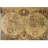 Póster retro de mapa del mundo antiguo con diseño de mapa del mundo vintage, color marrón, para decoración del hogar, 71 x 50 cm