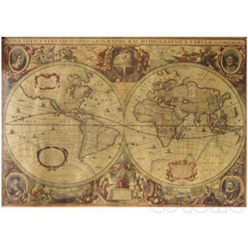Mya - Papel kraft vintage de mapa del mundo con globo antigu