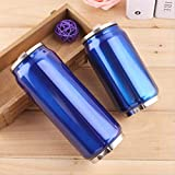 yylikehome 300 / 500ml Lata de Bebida con Paja Thermol Aislado de Acero Inoxidable Botella de Agua Termo de café matraz de vacío Taza Garrafa Termica300ml Azul