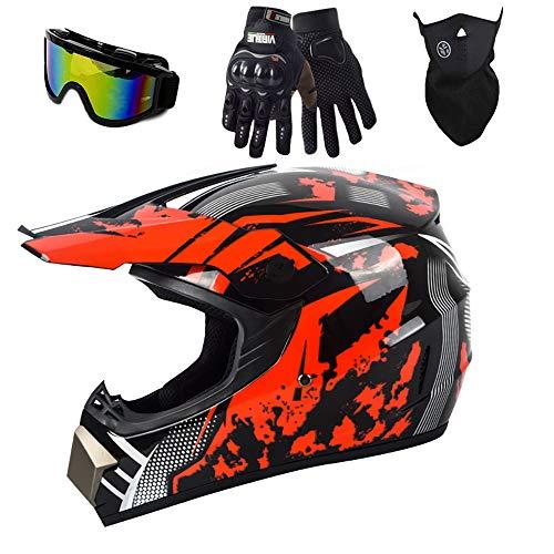 Tanamy Motocross Helm Erwachsener, DOT Zugelassenes Vollgesichts-Offroad-Motorrad BMX ATV DH MX MTB Dirt Bike...