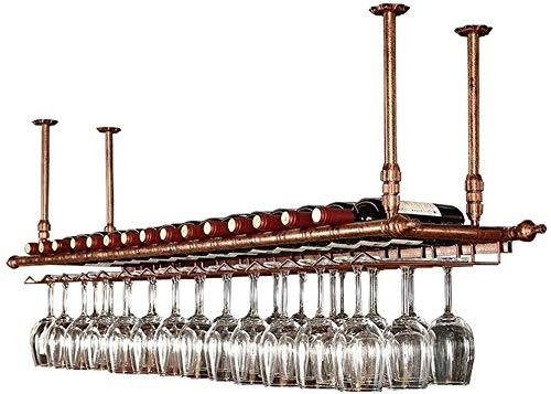 zyl Estante para Vino de Techo LINLINZ Estante para Vino Colgante Estante para Copas de Vino Soporte para Copas Estante de decoración de Altura Ajustable para Bares restaurantes cocinas 2 Colore