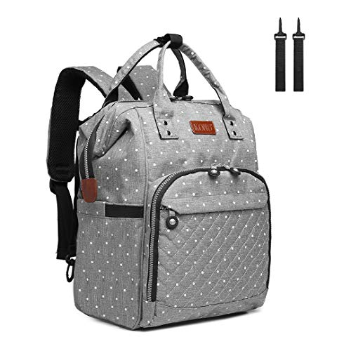 Kono Baby Changing Backpack Bag Multi-Function Large Capacity Travel Diaper Rucksack Nappy Back Pack with 2 Stroller Straps 16.8L (Dots Grey)