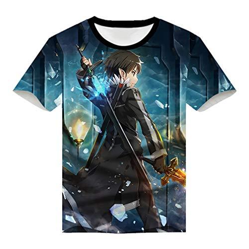Cosstars Anime Sword Art Online Sao 3D Impreso T-Shirt Cosplay Disfraz Verano Camisetas Manga Corta tee Tops 9 XXXL