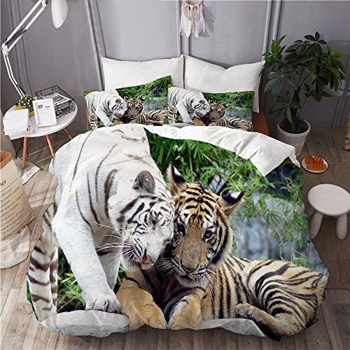 XINGAKA Funda nórdica Estampada,Blanco Y Negro Animal Tigres Caball