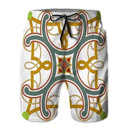 Holefg3b Pantalones Cortos de Playa con Estampado para Hombr