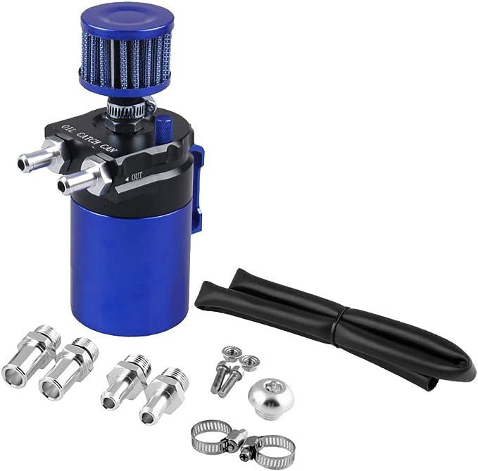 Sharplace Universal Oil Catch Can Öl Auffangbehälter Ölsammler Öltank Mit Filter Rund Blau Auto