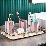 Conjunto de accesorios de baño,juego de accesorios de baño de cerámica de 4 piezas Juego de baño de accesorios de baño Botellas de loción,Portacepillos de dientes,Taza bucal,Jabonera (verde oscuro)