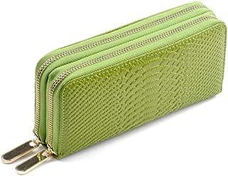 Women's Long Wallet Genuine Leather Double Zipper Serpentine Embossing Female Clutch Bag Coin Purse Card Holder Wristlet Strap