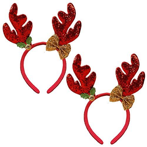 Christmas Reindeer Headband Glitter Reindeer Antlers Headbands Xmas Hair Band Headpiece Women Deer Bow Bell Hairband Hair Hoop Holiday Party Decoration Cosplay Costume Hair Accessories 2 Pack Red