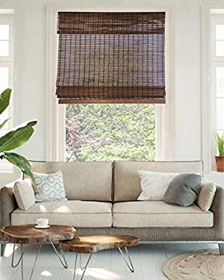 """CHICOLOGY Cordless Bamboo Roman Shades, Light Filtering Window Treatment Perfect Resort Feel for Living Dining Room/Bedroom and More, 31"""" W X 64"""" H, Buffalo"""