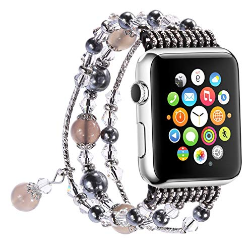 Apple Watch Band 38 mm 40 mm 42 mm 44 mm para Las Series 6, 5, 4, 3, 2, 1 Reemplazo de Pulsera de Diamantes de Cristal Ajustable para Mujer,38/40mm