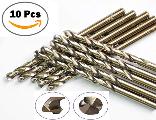 Sino-max 10Pcs Pack M35 HSS Cobalt Jobber Length Twist Drill Bit 1/4 Inch, 135 Point Angle Split Point, Drilling Steel, Metal, Iron, Aluminium, Copper, Plastic..