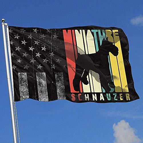 Elaine-Shop Outdoor Flaggen Vintage Zwerg Schnauzer Hund abgenutzte USA Flagge 4 * 6 Ft Flagge für Wohnkultur Sport Fan Fußball Basketball Baseball Hockey
