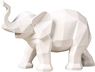 QueenBox® Modern Abstract Geometric Elephant Sculpture Resin Decoration Statue, White