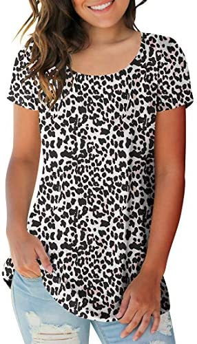 Sousuoty Women s Leopard Printed Top Short Sleeve Tee Casual Crewneck T Shirt L product image
