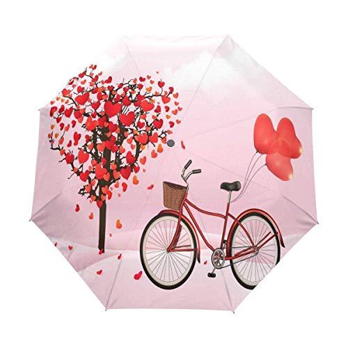AOTISO Día de San Valentín Amor Corazón Árbol Bicicleta 3 Pliegues Auto Apertura Cierre Paraguas, 99% de protección UV
