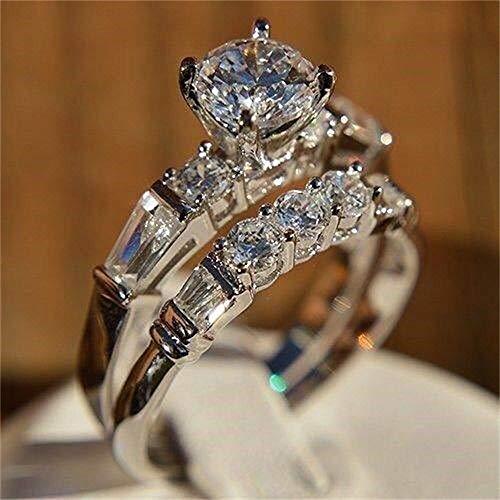 925 Sterling Silver Shiny Gemstone Ring Fashion 2PCS Cubic Zirconia Rings Set CZ Three Stones Ring Eternity Engagement Wedding Band Ring for Women (US Code 8)