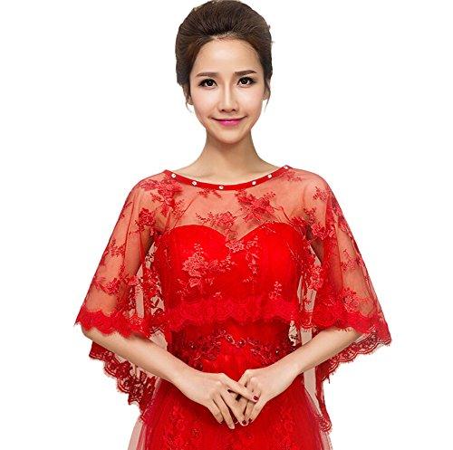 JUNGEN Chal de Encaje de Mujer para Vestido de Boda Wrap Capa Estola Chal Bolero Chaqueta de Encogimiento de Hombros Para Verano y Primavera Decoración de la Boda Rojo