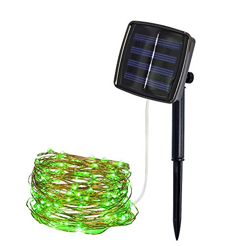 Ywoow Lantern String, 10M 100Lights Outdoor Solar Powered Copper Wire Light String Fairy Party Decor, Solar String Light Meter