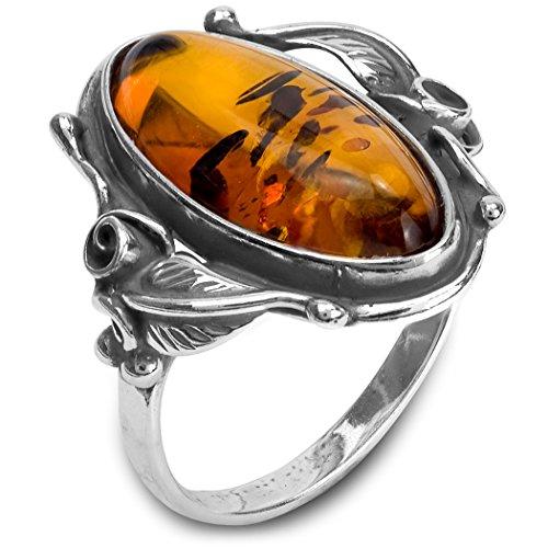 La miel ámbar de plata de ley con hojas Oval del anillo