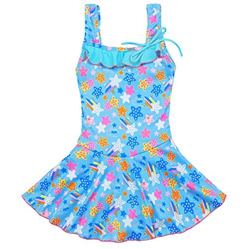 LSERVER 水着 ワンピース 女の子 スクール スカート 子供 セパレート スイミング マヤスタイル 上下 紫外線対策 夏用 海水浴 海外旅行 夏祭り ブルーA 2XL