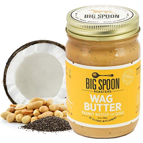Big Spoon Roasters Wag Butter - Peanut Butter for Dogs - All Natural & Healthy Dog Peanut Butter - Puppy Treats & Snacks – No Gluten, Soy, or Palm – Made in The USA - 13 Ounce Jar