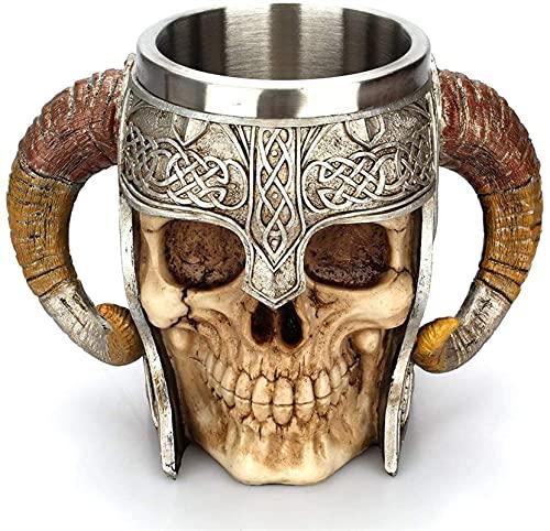GDYJP Taza Medieval de Halloween, ariete de Acero Inoxidable cornudo Vikingo Pirata Taza de cráneo gótico Taza de tankard Taza, Caballero Esqueleto Stein para la Cerveza Vino café Ron Agua Potable