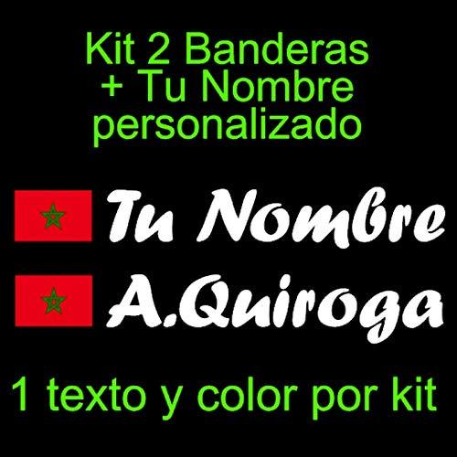 Vinilin Pegatina Vinilo Bandera Marruecos + tu Nombre - Bici, Casco, Pala De Padel, Monopatin, Coche, Moto, etc. Kit de Dos Vinilos (Blanco)