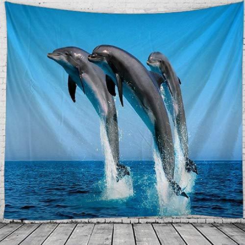 Tapiz tapiz de delfín azul marino Mandala tapiz tapiz colgante de pared Boho dormitorio alfombra de pared sofá manta 150x200cm
