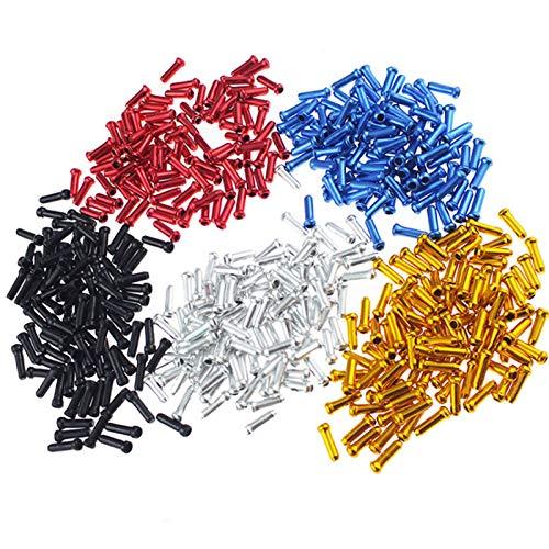 100 Piezas Tapa de Freno de Bicicleta Tapas del Extremo del Cable Freno Tapas de Cable de Freno de Bicicleta Para Bicicletas Frenos Cables Y Desviadores Line Core (Rojo Oro Azul Negro Plata)