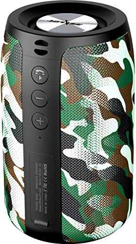 Altavoz Bluetooth Portátil,Altavoces Bluetooth Portatiles ZEALOT S32 Mini Waterproof, Impermeable,24 Horas Reproducción, TWS Sonido Estéreo,Apoya TF Card Memoria USB,Inalámbrico(Camuflaje Negro)