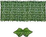 Malla De Ocultacion Jardin Ocultacion Jardin Vallas decorativas Paneles de setos de hojas Seto de madera Valla de enrejado retráctil Rollo de cribado Valla artificial de expansión iEvery 0816(Color: