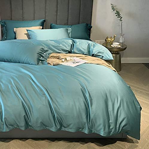 DUIPENGFEI 120 Satin Long-Staple Cotton Embroidered Four-Piece Bed, Pure Cotton Duvet Cover Set, Green Apple, Set King 220X240Cm