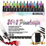Brush Pen Set, BOIROS 24 Aquarell Pinselstifte + 1 Wassertankpinsel, mit weicher und flexibler Nylonspitze,für Kalligraphie, Kindermalen, Malbuch für Erwachsene, künstlerische Arbeiten, (Mäppchen)