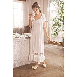 Women White Nightdress,Short Sleeve Vintage Nightgown Victorian Sleepwear Lounge Dress