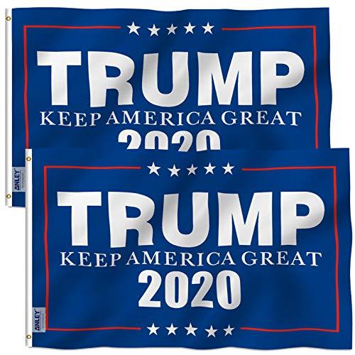 Anley 2er Pack Fly Breeze 3x5 Fuß Donald Trump 2020 Flagge - Lebendige Farbe und UV-Lichtechtheit - Leinwandkopf und doppelt genäht - BEHALTEN SIE Amerika Grosse Fahnen Polyester mit Messingösen