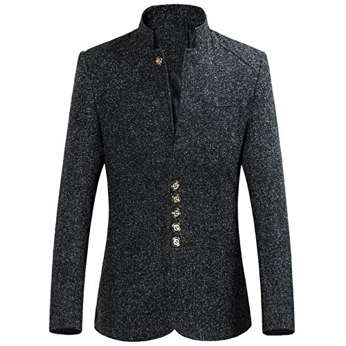 Men's Suit Coat Autumn Winter Single-Breasted Button Large Size Long Sleeve Outwear Zhong Tunic Jacket
