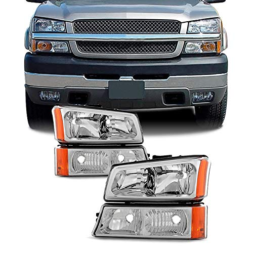 For 2003-2006 Chevy Silverado Avalanche OE Replacement Chrome Headlights Driver+Passenger Head Lamps Pair