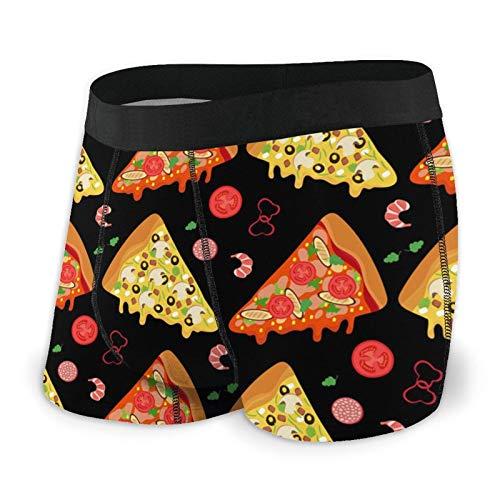 Herren Boxershorts Pizza Slices Seamless Muster Klassische Unterwäsche Gr. S, Schwarz