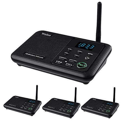 Wuloo Intercoms Wireless for Home 1 Mile Range 22 Channel 100 Digital Code Display Screen, Wireless Intercom System for Home House Business Office, Room to Room Intercom Communication(4Stations Black)