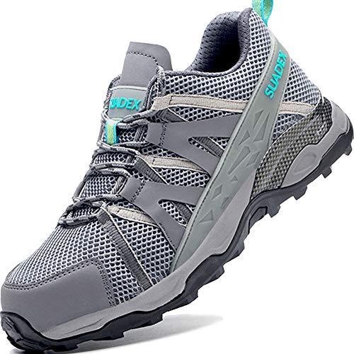 SUADEEX Sicherheitsschuhe Herren Arbeitsschuhe Leicht Sportlich Atmungsaktiv Schutzschuhe mit Stahlkappe Sneaker Anti-Smashing Anti-Piercing Grau Gr.44
