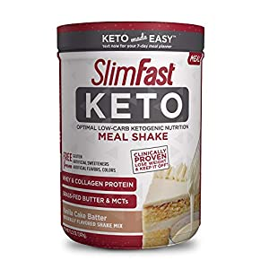 SlimFast Keto Meal Replacement Shake Powder - Vanilla Cake Batter - 12.2 Oz. - 10 Servings - Pantry Friendly