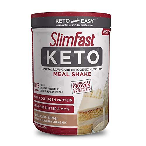 SlimFast Keto Meal Replacement Shake Powder - Vanilla Cake Batter - 12.2 Oz. - 10 Servings - Pantry Friendly
