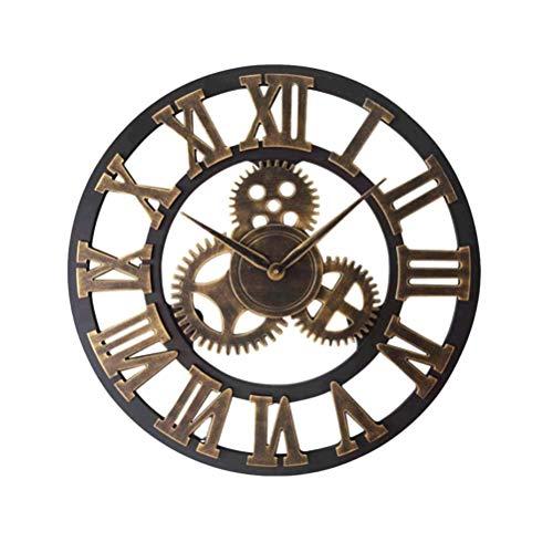 1Pc 34cm Relógio de parede de engrenagem industrial Relógio de parede decorativo Relógio de parede estilo industrial bateria (dourado) relógio pendurado
