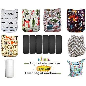 LilBit- Lot de 6couches lavables et réutilisables pour bébé - Réglables avec des boutons pression - Inserts en charbon de bambou - Gris anthracite