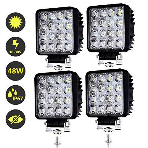 Hengda LED Arbeitsscheinwerfer 12v 4x 48W Scheinwerfer Traktor, Auto, LED Strahler LKW, Offroad, PKW Zusatzscheinwerfer Rückfahrscheinwerfer Wasserdicht IP67 SUV